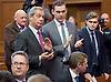 UKIP Leadership Announcement <br /> at the Emmanuel Centre, Westminster, London, Great Britain <br /> 28th November 2016 <br /> <br /> Nigel Farage MEP<br /> former UKIP Leader <br /> <br /> applauds <br /> <br /> Paul Nuttall <br /> new UKIP Leader <br /> <br /> acceptance speech <br /> <br /> Photograph by Elliott Franks <br /> Image licensed to Elliott Franks Photography Services