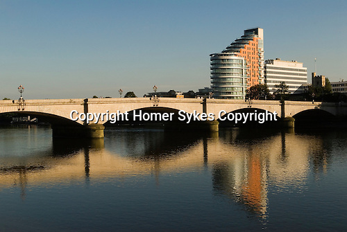 Putney bridge and Putney Wharf Tower on the river Thames. UK 2007.