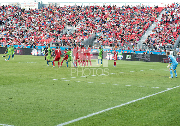 August 10, 2013: Seattle Sounders FC forward Clint Dempsey #2 attempts a free kick during an MLS regular season game between the Seattle Sounders and Toronto FC at BMO Field in Toronto, Ontario Canada.<br /> Seattle Sounders FC won 2-1.