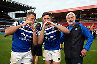 Zach Mercer, Elliott Stooke and Todd Blackadder of Bath Rugby pose for a photo after the match. Gallagher Premiership match, between Leicester Tigers and Bath Rugby on May 18, 2019 at Welford Road in Leicester, England. Photo by: Patrick Khachfe / Onside Images