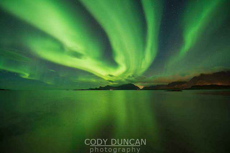Northern lights fill sky over Ytresand beach, Moskenesøy, Lofoten Islands, Norway