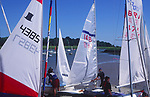 AT5CG6 Sails of sailing dinghy boats River Deben Woodbridge Suffolk