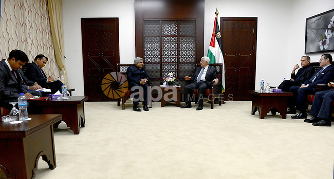 Palestinian President Mahmoud Abbas meets with Indian Deputy Foreign Minister Anil Wadhwa, in the West Bank city of Ramallah on July 8, 2015. Photo by Osama Falah