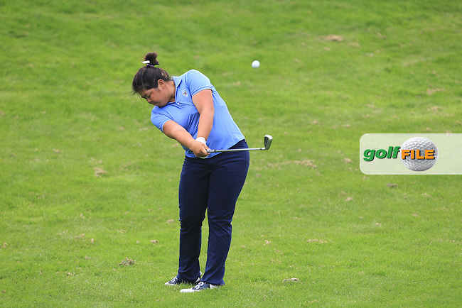 Bethany Wu on the 7th during the Friday afternoon Fourballs of the 2016 Curtis Cup at Dun Laoghaire Golf Club on Friday 10th June 2016.<br /> Picture:  Golffile | Thos Caffrey