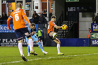 Paul Hayes of Wycombe Wanderers (2nd left) scores his team's second goal against Luton Town to make it 0-2 during the Sky Bet League 2 match between Luton Town and Wycombe Wanderers at Kenilworth Road, Luton, England on 26 December 2015. Photo by David Horn.