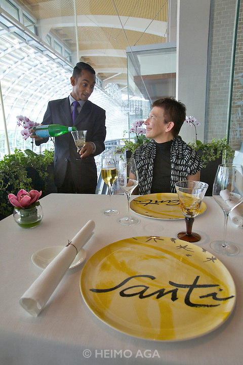 Singapore. Marina Bay Sands. SANTI restaurant combines Mediterranean culture with the authentic taste of the Catalan region in Spain.