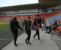 Blackpool players arrive <br /> <br /> Photographer Stephen White/CameraSport<br /> <br /> The EFL Sky Bet League One - Blackpool v Rochdale - Saturday 6th October 2018 - Bloomfield Road - Blackpool<br /> <br /> World Copyright &copy; 2018 CameraSport. All rights reserved. 43 Linden Ave. Countesthorpe. Leicester. England. LE8 5PG - Tel: +44 (0) 116 277 4147 - admin@camerasport.com - www.camerasport.com