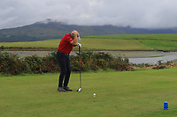 """Fergus Rothwell (Westport) protects his head after hearing """"Fore"""" on the 15th tee during the Final of the Junior Cup in the AIG Cups & Shields Connacht Finals 2019 in Westport Golf Club, Westport, Co. Mayo on Thursday 8th August 2019.<br /> <br /> Picture:  Thos Caffrey / www.golffile.ie<br /> <br /> All photos usage must carry mandatory copyright credit (© Golffile 