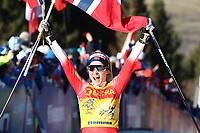 5th January 2020; Val Di Fiemme Ski Resort, Val Di Fiemme, Trento, Italy; International Ski Federation Audi FIS Womens Cross Country Ski World Cup, Tour De Ski Val Di Fiemme; Therese Johaug (NOR) celebrates the win