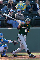 Michael Howard #24 of the Baylor Bears bats against the UCLA Bruins at Jackie Robinson Stadium on February 25, 2012 in Los Angeles,California. UCLA defeated Baylor 9-3.(Larry Goren/Four Seam Images)