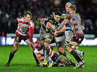 Francois Louw of Bath Rugby takes on the Gloucester defence. Aviva Premiership match, between Gloucester Rugby and Bath Rugby on March 26, 2016 at Kingsholm Stadium in Gloucester, England. Photo by: Patrick Khachfe / Onside Images