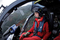 Norwegian Air Ambulance crew in EC-135 helicopter on rescue training mission near Stavanger. Pilot Per A. Starheim