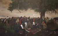 The Surrender of Santa Anna, 1886, by William Huddle, 1847-92, in the South Foyer of the Texas State Capitol (where it has hung since 1891), designed in 1881 by Elijah E Myers and built 1882-88, Austin, Texas, USA. The painting depicts April 22nd 1836, the day after the Battle of San Jacinto. Mexican general Antonio Lopez de Santa Anna is brought before Texas General Sam Houston as a prisoner of war. Houston, wounded, rests under an oak tree while arranging an armistice with Santa Anna. To the right is Erastus 'Deaf' Smith, a Texan scout, and captured Mexican battle flags lean against a tree. Behind Houston is Secretary of War Thomas Jefferson Rusk, who is standing next to Colonel Mirabeau B Lamar. Picture by Manuel Cohen