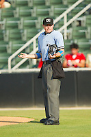 Home plate umpire Lewis Williams during the South Atlantic League game between the Rome Braves and the Kannapolis Intimidators at CMC-Northeast Stadium on June 16, 2013 in Kannapolis, North Carolina.  The Intimidators defeated the Braves 6-4.   (Brian Westerholt/Four Seam Images)