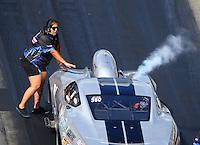 Jun 17, 2016; Bristol, TN, USA; Crew member for NHRA pro mod driver Bob Rahaim during qualifying for the Thunder Valley Nationals at Bristol Dragway. Mandatory Credit: Mark J. Rebilas-USA TODAY Sports
