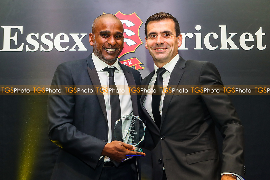 Dimitri Mascarenhas of Essex collects the Bowler Of The Year Award on behalf of Simon Harmer during the Essex CCC Awards at The Cloudfm County Ground on 3rd October 2018