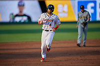 Lansing Lugnuts Johnny Aiello (4) running the bases during a Midwest League game against the Burlington Bees on July 18, 2019 at Cooley Law School Stadium in Lansing, Michigan.  Lansing defeated Burlington 5-4.  (Mike Janes/Four Seam Images)