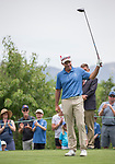 Stuart Smith waves to the gallery on the 10th hole during the Barracuda Championship PGA golf tournament at Montrêux Golf and Country Club in Reno, Nevada on Thursday, July 25, 2019.