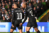 12th September 2017, Glasgow, Scotland; Champions League football, Glasgow Celtic versus Paris Saint Germain;  10 NEYMAR JR (psg) reeives a pat from KYLIAN MBAPPE (psg)