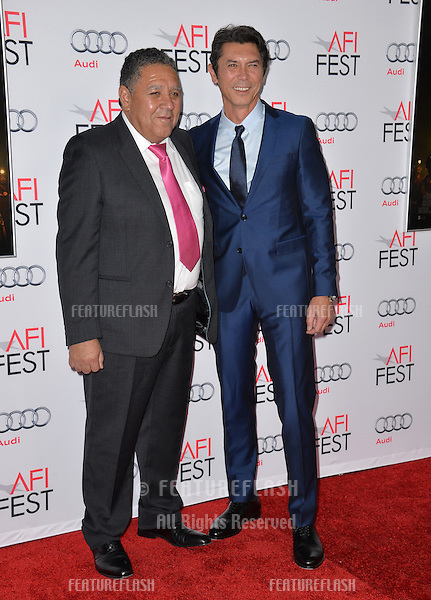 Actor Lou Diamond Phillips &amp; Chilean miner Luis Urzua at the premiere of his movie &quot;The 33&quot;, part of the AFI FEST 2015, at the TCL Chinese Theatre, Hollywood. <br /> November 9, 2015  Los Angeles, CA<br /> Picture: Paul Smith / Featureflash
