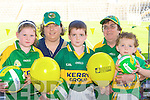 Eva, Aileen, Adam, Eileen and Billy O'Sullivan Lisselton cheering on the Kerry team at their training in Fitzgerald Stadium, Killarney on Saturday. .