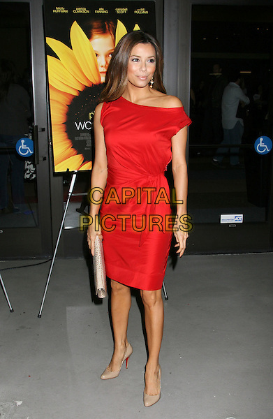 "EVA LONGORIA PARKER .""Phoebe In Wonderland"" Los Angeles Screening held at the Writers Guild Theater, Beverly Hills, California, USA, 1st March 2009..full length red off the shoulder dress belted belt Christian louboutin heels shoes beige cliutch bag .CAP/ADM/MJ.©Michael Jade/Admedia/Capital Pictures"