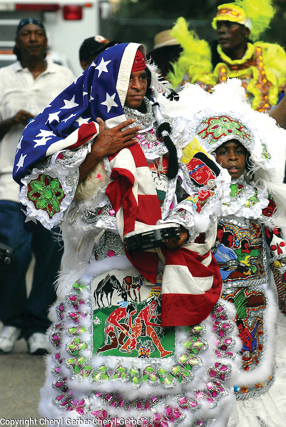 "Mardi Gras Indian Big Chief ""Lil"" Walter Cook of the Creole Wild West, first anniversary of Hurricane Katrina, 2006"
