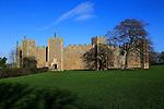 Curtain wall of Framlingham castle in winter, Suffolk, England, UK