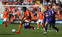 Blackpool's Armand Gnanduillet and Portsmouth's Tom Naylor<br /> <br /> Photographer Stephen White/CameraSport<br /> <br /> The EFL Sky Bet League One - Blackpool v Portsmouth - Saturday 31st August 2019 - Bloomfield Road - Blackpool<br /> <br /> World Copyright © 2019 CameraSport. All rights reserved. 43 Linden Ave. Countesthorpe. Leicester. England. LE8 5PG - Tel: +44 (0) 116 277 4147 - admin@camerasport.com - www.camerasport.com