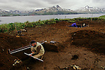 Peopling the Americas, Excavation site, Rick Knecht, Dutch Harbor, Aleution Islands, Alaska, excavation