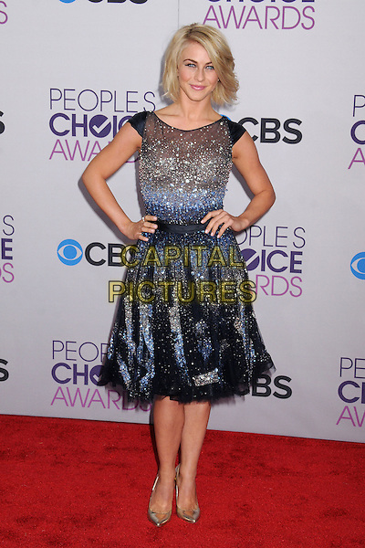 Julianne Hough.People's Choice Awards 2013 - Arrivals held at Nokia Theatre L.A. Live, Los Angeles, California, USA..January 9th, 2013.full length dress silver blue beads beaded tulle hands on hips  .CAP/ADM/BP.©Byron Purvis/AdMedia/Capital Pictures.