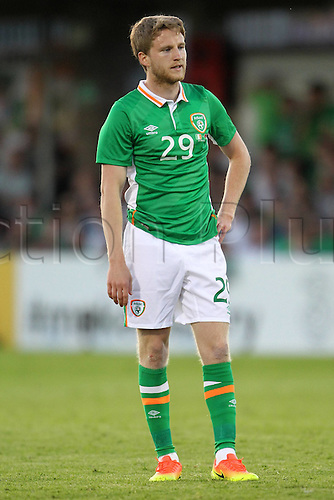31.05.2016, Turners Cross Stadium, Cork, Ireland. International football friendly between republic of ireland and Belarus.  Eunan O Kane of Republic of Ireland waits for the play to take shape