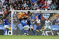 Leicester City's Youri Tielemans watches as Wolverhampton Wanderers' Leander Dendoncker heads the ball past team-mate Willy Boly in to the goal only for the effort to be disallowed under a VAR ruling <br /> <br /> <br /> <br /> <br /> Photographer Stephen White/CameraSport<br /> <br /> The Premier League - Leicester City v Wolverhampton Wanderers - Sunday 11th August 2019 - King Power Stadium - Leicester<br /> <br /> World Copyright © 2019 CameraSport. All rights reserved. 43 Linden Ave. Countesthorpe. Leicester. England. LE8 5PG - Tel: +44 (0) 116 277 4147 - admin@camerasport.com - www.camerasport.com