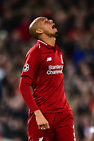 Liverpool's Fabinho reacts to a missed chance<br /> <br /> Photographer Richard Martin-Roberts/CameraSport<br /> <br /> UEFA Champions League Group C - Liverpool v Crvena Zvezda - Wednesday 24th October 2018 - Anfield - Liverpool<br />  <br /> World Copyright © 2018 CameraSport. All rights reserved. 43 Linden Ave. Countesthorpe. Leicester. England. LE8 5PG - Tel: +44 (0) 116 277 4147 - admin@camerasport.com - www.camerasport.com