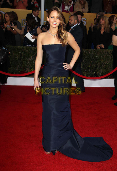 Jennifer Lawrence (wearing Christian Dior).Arrivals at the 19th Annual Screen Actors Guild Awards at the Shrine Auditorium in Los Angeles, California, USA..27th January 2013.SAG SAGs full length strapless dress blue hand on hip navy .CAP/ADM/KB.©Kevan Brooks/AdMedia/Capital Pictures.