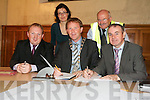 REDEVELOPMENT: Signing the contract for the redevelopment of the former convent at Moyderwell on Tuesday morning from front l-r were: Lorcan Hoyne (L & M Keating Contractors), Arthur Spring (Mayor of Tralee) and Michael McMahon (Town Manager) . Back l-r were: Madeline Hallinan (National Building Agency) and Tim McSwiney (Tralee Town Council).