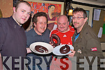 Pictured at the first heat of the Kerry black pudding eating championships in Squires Bar, Killarney, on Thursday night were Bernard O'Shea, Bill Stuart, Clyde McDonnell and Ken O'Day.