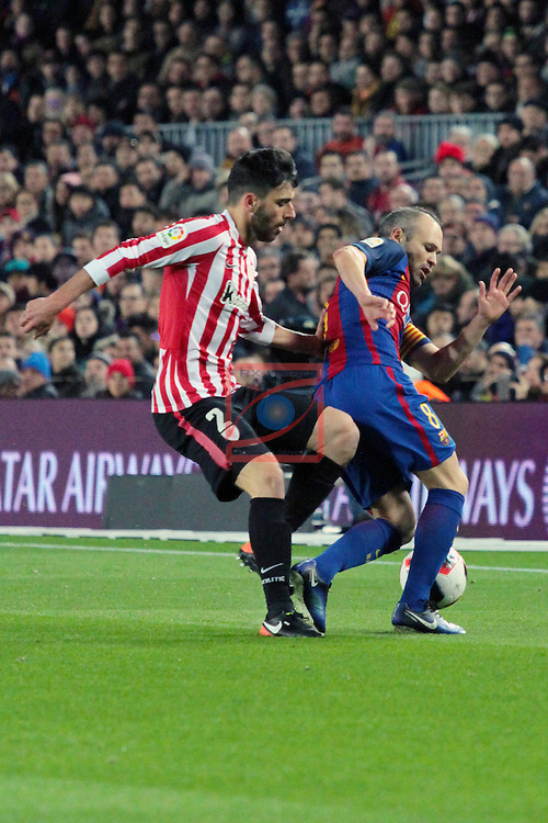 Copa del Rey 2016/2017 - 1/8 final vuelta.<br /> FC Barcelona vs Athletic Club: 3-1.<br /> Boveda vs Andres Iniesta.