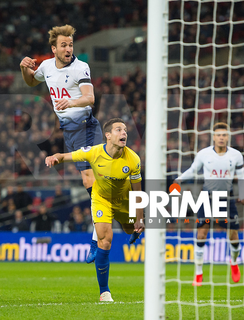 Tottenham's Harry Kane during the Premier League match between Tottenham Hotspur and Chelsea at Wembley Stadium, London, England on 24 November 2018. Photo by Andrew Aleksiejczuk / PRiME Media Images.