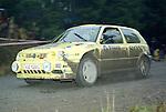 Pix: Shaun Flannery/shaunflanneryphotography.com...COPYRIGHT PICTURE>>SHAUN FLANNERY>01302-570814>>07778315553>>..1995 Network Q RAC Rally..19th November - 22nd November 1995..Tapio Laukkanen and Risto Mannisenmaki..Volkswagen Golf GTI 16V.SBG Sport