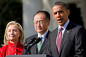 United States President Barack Obama, right, introduces Jim Yong Kim, president of Dartmouth College, as a nominee to become president of the World Bank with U.S. Secretary of State Hillary Rodham Clinton, in the Rose Garden of the White House in Washington, D.C., U.S., on Friday, March 23, 2012. Kim was born in Seoul and is a U.S. citizen. He would succeed Robert Zoellick as the head of the bank. The bank made $57 billion loans in the last fiscal year. .Credit: Andrew Harrer / Pool via CNP