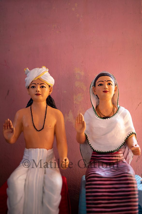 India - Manipur - Imphal - Traditonal god and goddess of the Ima Market who protect the market and its vendors are revered by all the vendors at the beginning of each working days, flowers and fresh fruits are offered to them.