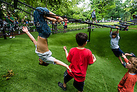 New York, NY - 10 June 2014 - Students from PS 41 play on the hills in Washington Square Park