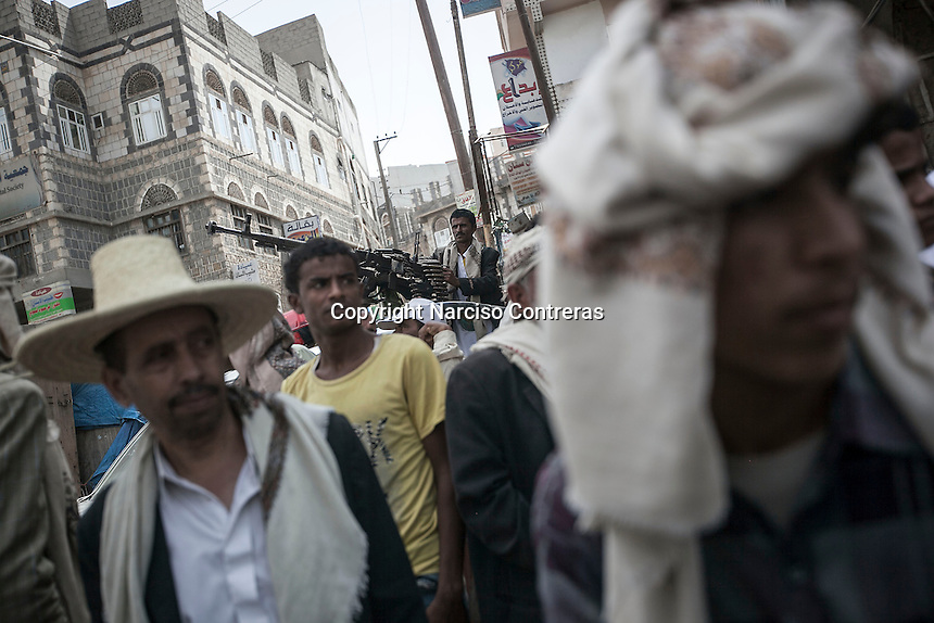 Monday 06 July, 2015: Houthi militants gather at the main square in Hajjah city up to the mountains at northwest of Yemen. (Photo/Narciso Contreras)