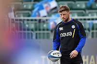 Rhys Priestland of Bath Rugby looks on during the pre-match warm-up. Heineken Champions Cup match, between Bath Rugby and Stade Toulousain on October 13, 2018 at the Recreation Ground in Bath, England. Photo by: Patrick Khachfe / Onside Images