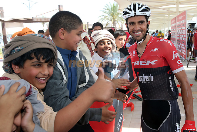 Alberto Contador (ESP) Trek-Segafredo at sign on before the start of Stage 1 Emirates Motor Company Stage of the 2017 Abu Dhabi Tour, running 189km from Madinat Zayed through the desert and back to Madinat Zayed, Abu Dhabi. 23rd February 2017<br /> Picture: ANSA/Matteo Bazzi | Newsfile<br /> <br /> <br /> All photos usage must carry mandatory copyright credit (&copy; Newsfile | ANSA)