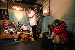 """October 22, 2016, Utsunomiya, Japan - Japanese macaques Fuku (meaning happiness) and Yume groom each other at an izakaya, Japanese pub """"Kayabuki"""" in Utsunomiya, 100km north of Tokyo on Saturday, October 22, 2016. The pub master Kaoru Otsuka trains Japanese macaques to help him and show their entertainment skills to attract customers including lots of foreign tourists.   (Photo by Yoshio Tsunoda/AFLO) LWX -ytd-"""