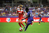 Orlando, FL - Saturday April 22, 2017: Jasmyne Spencer during a regular season National Women's Soccer League (NWSL) match between the Orlando Pride and the Washington Spirit at Orlando City Stadium.