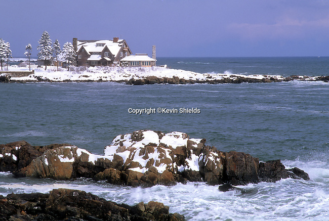 Winter view of Walker Point, the Summer home of President George H.W. Bush in Kennebunkport, Maine, USA