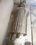 Village parish church of Saint Mary, Kingston Deverill, Somerset, England, UK stone effigy figure of unknown knight or nobleman